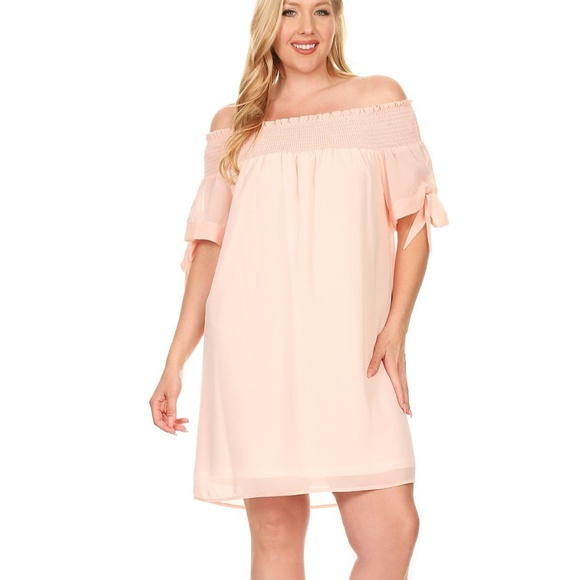 Plus Size Peach Dress for any occassion Boutique